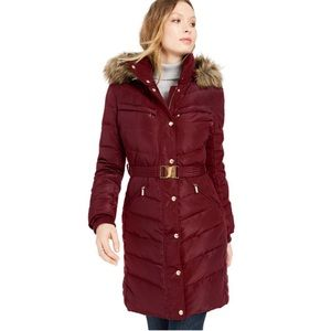 Michael Kors Belted Faux-Fur-Trim Down Puffer Coat
